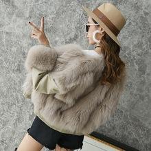 皮草秋冬新款进口整皮狐狸毛飞行服两面穿短款皮草外套大衣女