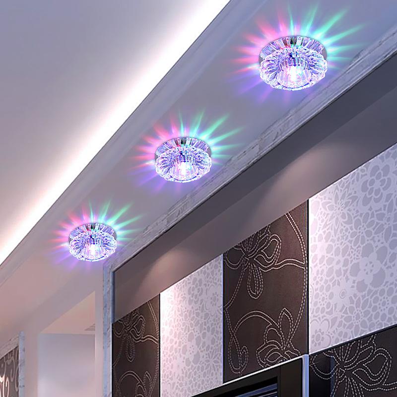 射灯嵌入式led水晶筒灯天花客厅5-8cm孔灯创意走廊过道吊顶牛眼灯