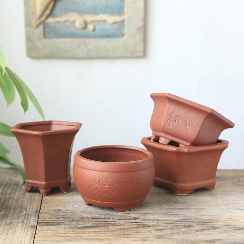 红陶土透气陶瓷多肉植物盆栽 高温创意复古简约紫砂透气素烧花盆