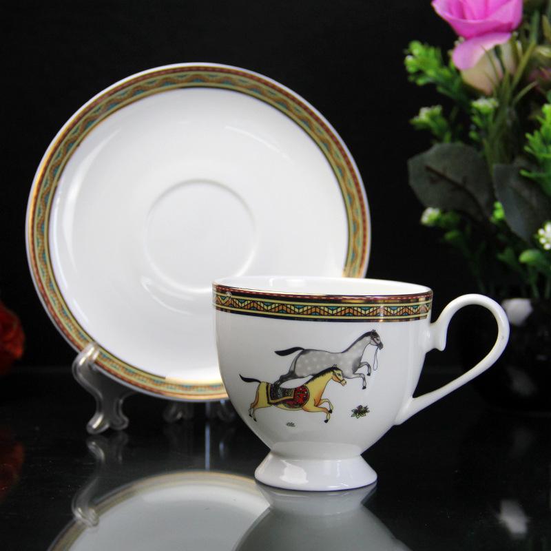 新品骨质瓷咖啡杯碟 陶瓷下午茶杯碟 亿美厂家礼品批发定制logo