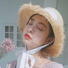 夏季女士户外遮阳草帽防晒太阳帽子大沿沙滩帽拉菲草凉帽热销同款