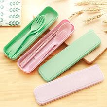 2212 便携餐具三件套创意韩国旅行儿童勺子筷子叉套装学生礼盒 K