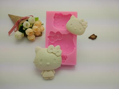 厂家直销dyi蛋糕模具凯蒂猫动物石膏硅胶模具 手工皂 模烘焙模具