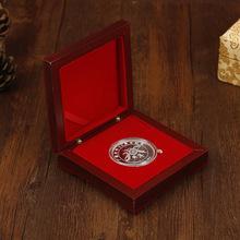 廠家定制帶木盒周年慶十二生肖豬年中式紀念章禮品金屬純銀紀念幣