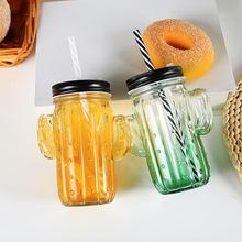 新款奶茶瓶 玻璃杯创意果汁饮料瓶牛奶杯带盖吸管 厂家直销