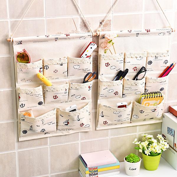 创意款收纳挂袋 挂壁式棉麻杂物大号挂袋浴室储物挂袋 工厂直销
