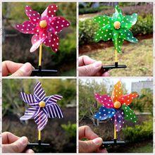 熱賣兒童玩具風車頭飾發夾七彩塑料風車幼兒園1元以下小禮品批發