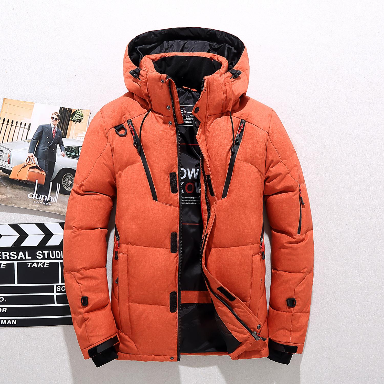冬季男士羽绒服短款户外运动修身连帽时尚加厚保暖青年大码外套潮