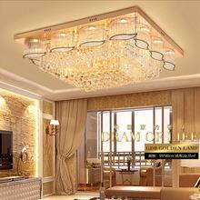 客厅灯长方形水晶灯 奢华大气大厅餐厅卧室吸顶LED遥控方形水晶灯