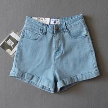 外貿歐美爆款牛仔短褲女基本款翻邊高腰闊腿牛仔熱褲2021夏新款