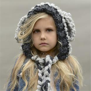 冬季儿童帽子外贸手工针织毛线帽批发卡通兔子耳朵宝宝帽