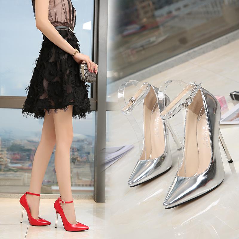 欧美跨境货源爆款职业尖头大码超高跟鞋细跟模特主持单鞋女速卖通