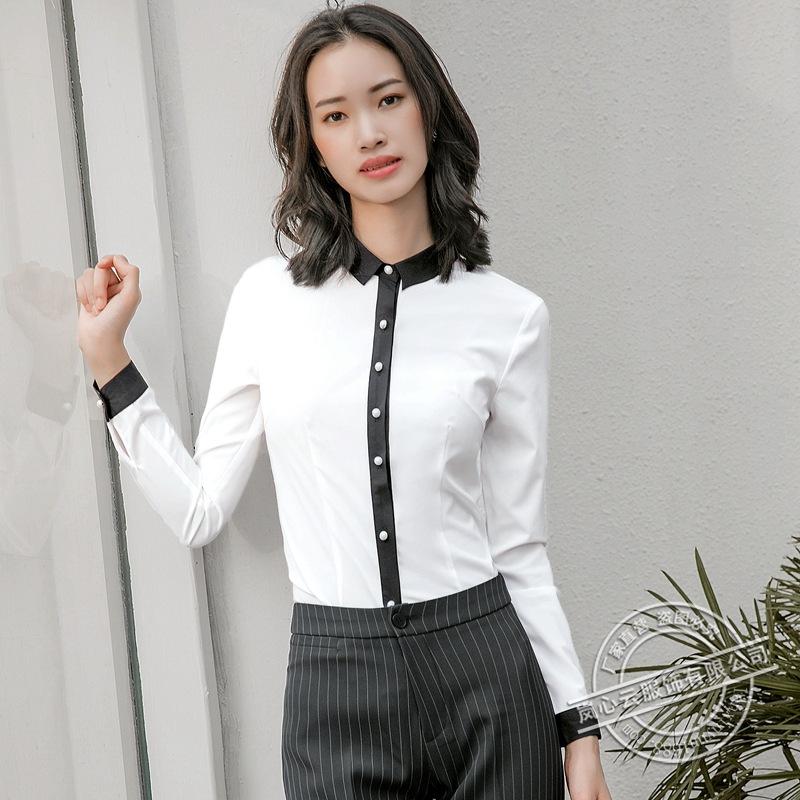 秋季新款长袖女式衬衫修身显瘦撞色衬衣ol商务办公室职业工作正装