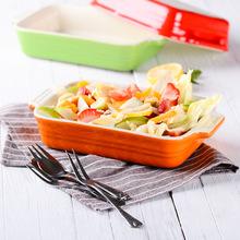 创意韩式陶瓷西餐烘培长方形烤盘  糖果色双耳烤盘芝士蛋糕盘 碗
