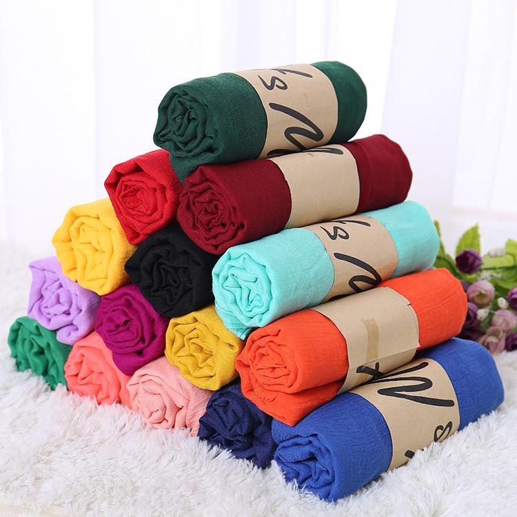 新款棉麻圍巾女民族風圍巾披肩禮品地攤熱賣單色百搭絲巾贈品批發