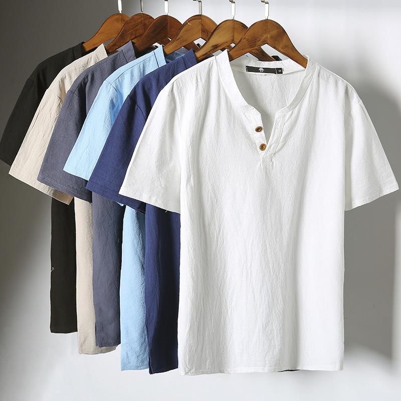 特价批发夏装爆款棉麻短袖T恤衫男中国风纯色大码V领男式休闲短T