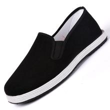 老北京布鞋男士懒人单鞋工作布鞋休闲鞋男黑一脚蹬帆布中老年布鞋