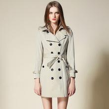 秋季新款 翻领双排扣中长款修身纯棉风衣外套女 高端品牌厂家批发