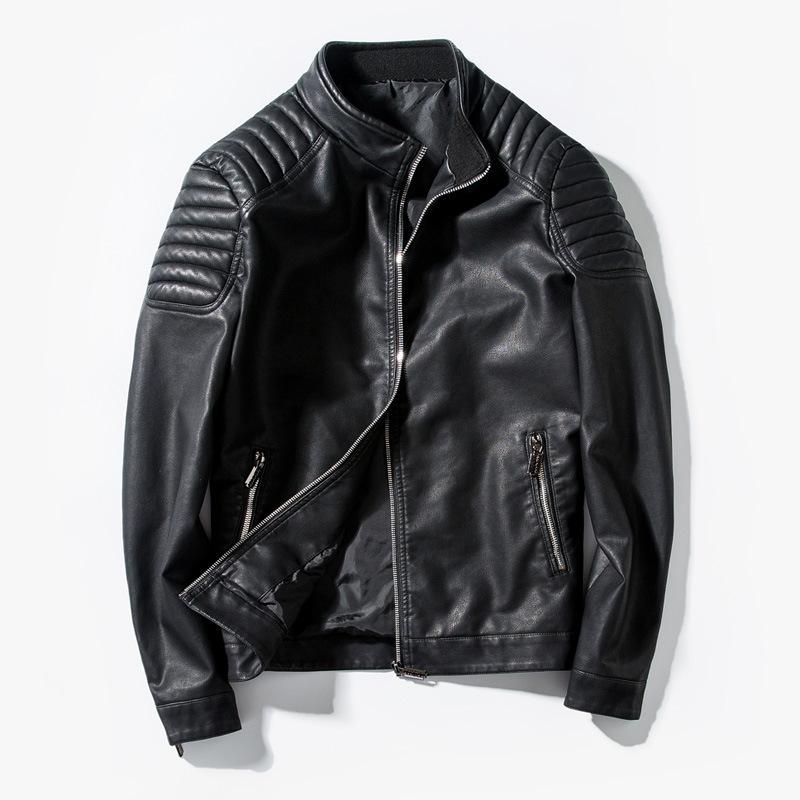 亚马逊男士休闲夾克男式修身机车外套男装pu皮夹克皮衣男韩版外套