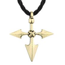 QIMING 大型武士长矛 个性创意风格 十字架吊坠男士斯拉夫项链