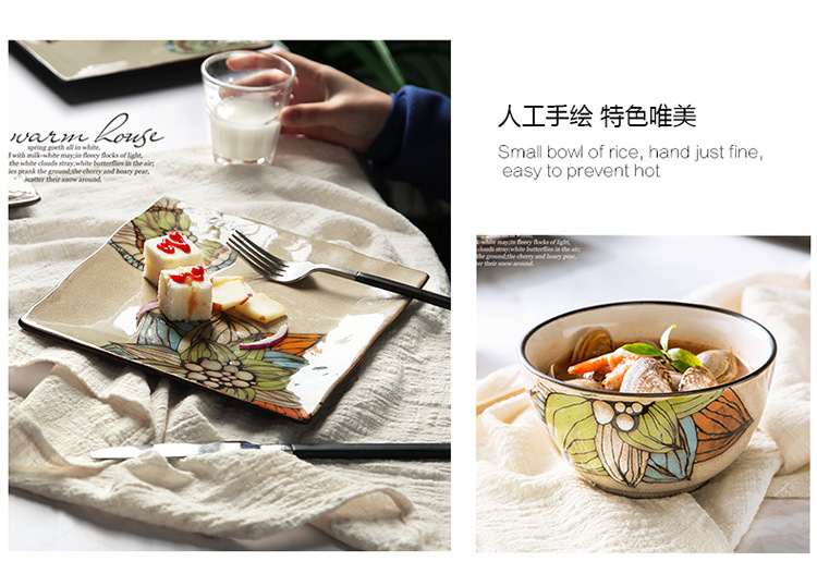 厂家直销 12头礼盒装创意手绘碗碟盘餐具套装米饭碗陶瓷西餐厅盘子