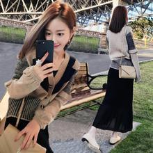 手工毛衣编织花样5000秋东装2019新款女装时尚毛衣裙子两件套9073