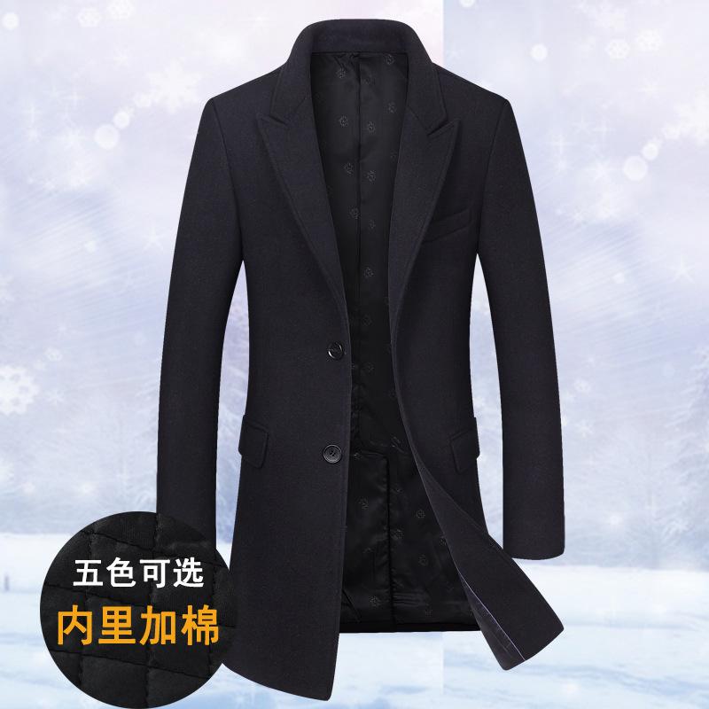 冬季新款男呢大衣修身毛呢大衣男中长款加厚男士呢子大衣男风衣