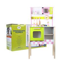 儿童仿真欧式厨房D款木制过家家做饭玩具套装幼儿园游乐场配置
