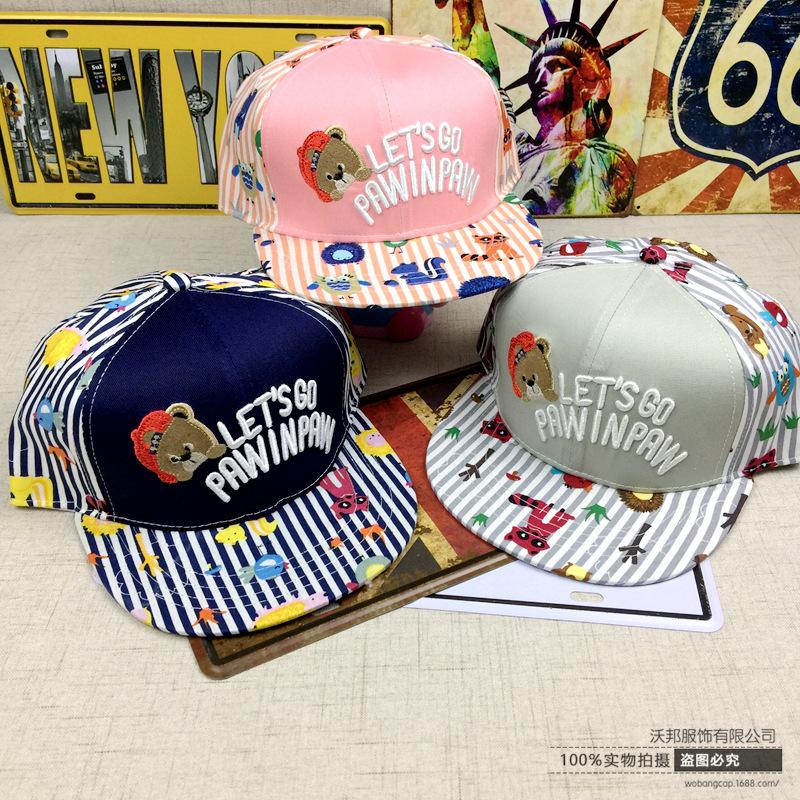 韩版新款涂鸦小动物儿童帽子 小熊头平沿棒球帽户外遮阳嘻哈帽