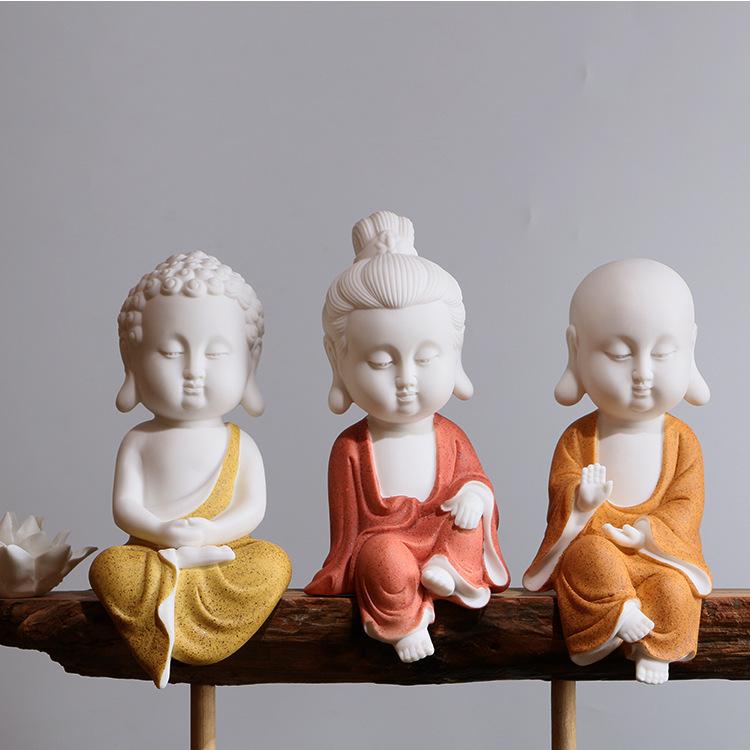 陶瓷工艺品摆件白瓷西方三圣家居客厅风化木简约现代佛像禅意摆件