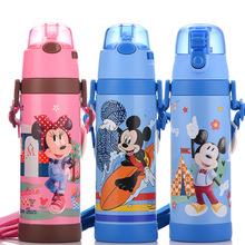 迪士尼儿童保温杯带吸管不锈钢双盖便携小学生水杯男宝宝水壶3459