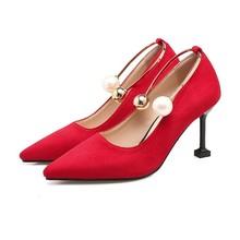 外贸姜黄色红色鞋婚鞋新娘细跟高跟单鞋春秋尖头大码鞋小码鞋 YGP