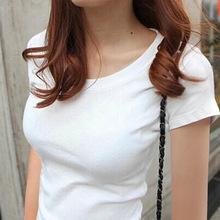 夏裝新款女裝打底衫純色半袖體恤修身棉質灰色t恤女短袖上衣代發