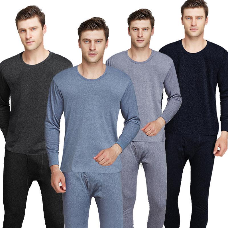 男装秋冬保暖家居内衣套装男士保暖纯色加绒套装一件代发盒装