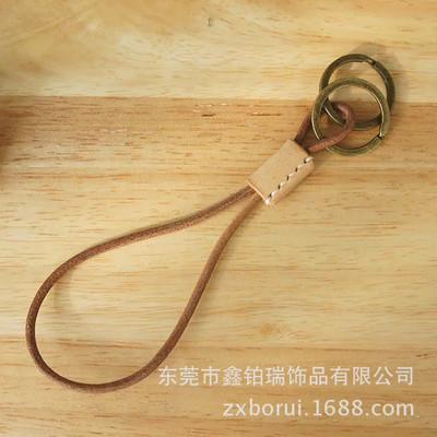 厂家订制纯手工制作皮钥匙扣头层牛皮钥匙扣男女简约汽车钥匙扣