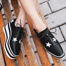 2018秋季新款学生鞋星星女鞋韩版休闲松糕鞋女厚底布洛克坡跟单鞋