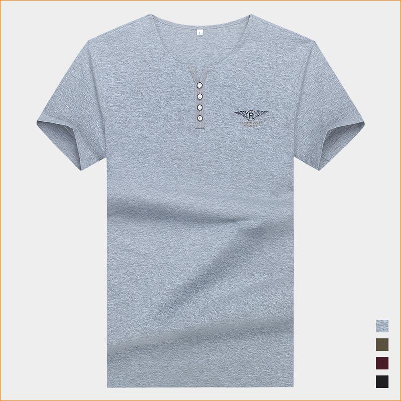 2020夏季男士短袖T恤衫純棉加大碼 休閑品牌男裝純色半袖胖子體恤