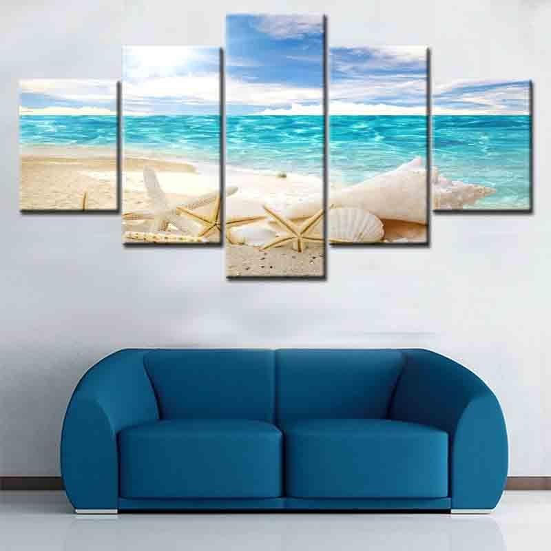 canvas painting 哑光防水喷绘画芯 唯美海景五联组合客厅装饰画