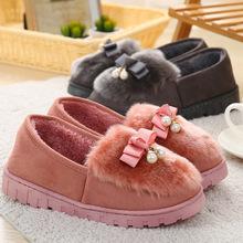 冬季豆豆棉拖鞋包跟女士居家厚底室内外防滑保暖毛绒家居鞋月子鞋