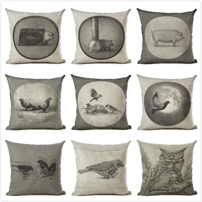 新款手绘黑白动物画棉麻抱枕家居靠垫套可来图定做90克