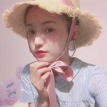 网红同款拉菲草帽日系粉色绑带蝴蝶结帽?#20248;?#28023;边度假沙滩帽