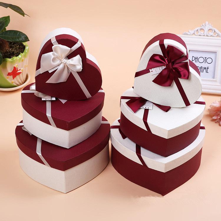 韩式蝴蝶结心形礼品盒空盒礼品丝巾包装盒巧克力盒子纸盒定做批发