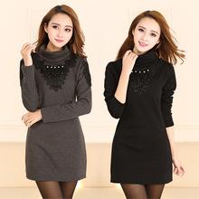 冬季外套韩版大码女装胖mm中长款厚加绒打底衫保暖内衣蕾丝连衣裙