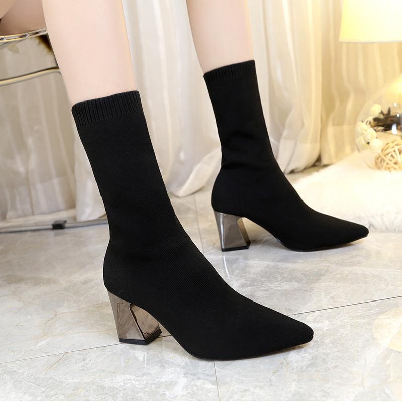 2019秋冬毛线短靴女鞋尖头粗跟马丁弹力靴针织袜靴外贸大码34-43