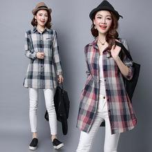 2018秋季新款韩版大码女装中长款格子棉麻长袖衬衫