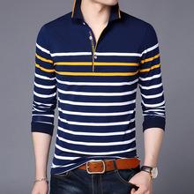 男式长袖t恤2019男装春季中青年时?#34892;?#38386;翻领套头男士长袖Polo衫