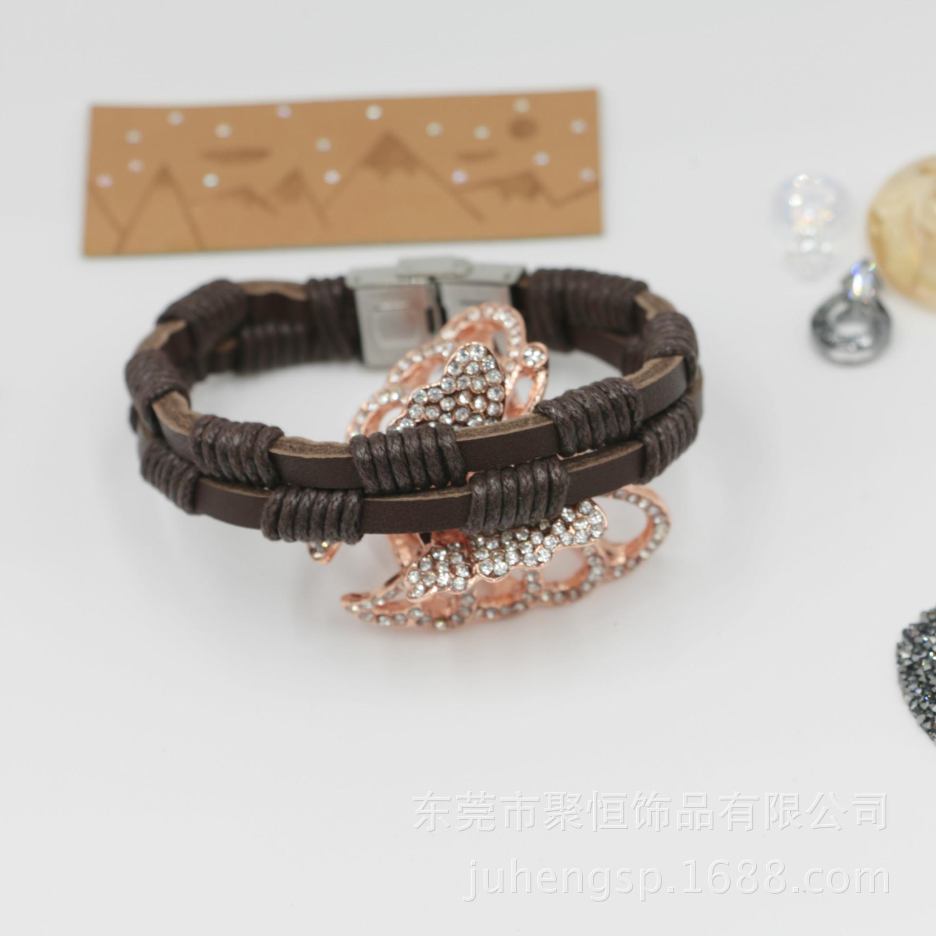 简约时尚编织皮绳手链真皮手链批发代客加工
