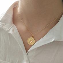 潮福猫设计 韩国韩版925纯银 金色美元圆型硬币吊坠项链