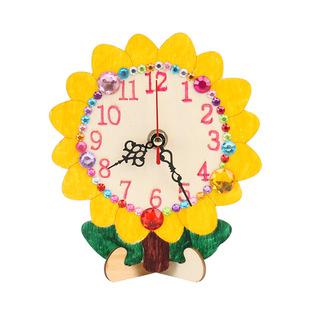 木质钟表白坯手绘时钟木板画儿童创意手工diy绘画幼儿园亲子活动图片