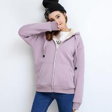 韩版羊羔绒长袖卫衣女生连帽上衣宽松大码加绒拉链上衣开衫外套潮